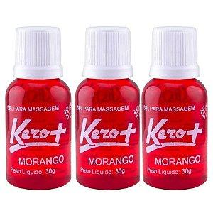 Kit 03 Gel Comestível Kero Mais Morango 30gramas - Sexshop