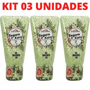 Kit 03 Gel Erótico Segura o Xero Excitante Aromático 15g Hot Flowers - Sex shop