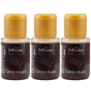 Kit 03 Gel Quente Aromatizante Chocolate 15ml Hot Flowers - Sex shop