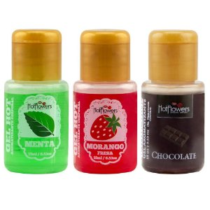 Kit 03 Gel Quente Aromatizante Morango 15ml Hot Flowers - Sex shop
