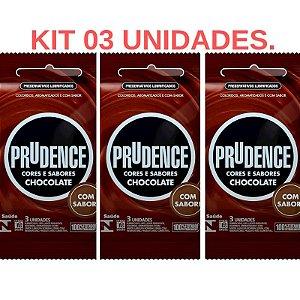 Kit 03 Pacotes Preservativo Cores e Sabores Chocolate - Sexshop