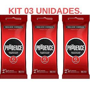 Kit 03 Preservativo Tradicional Lubrificado Prudence 6 unid - Sexshop