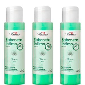 Kit 03 Sabonete Íntimo Menta 35ml Hot Flowers - Sexshop