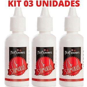 Kit 03 Stimulus Óleo de Massagem Anal corporal Morango 15ml Hot Flowers - Sexshop