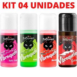 Kit 04 Gel Sexo Oral Vibroquete Vibrante 12gr Hot Flowers - Sexshop