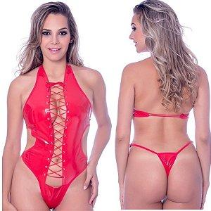 Kit Fantasia Body Vinil Vermelho Sensual Love - Sexshop