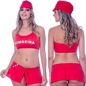 Kit Fantasia Bombeira Saia Sensual Love - Sexshop