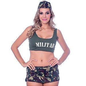 Kit Fantasia Militar Saia Sensual Love - Sexshop