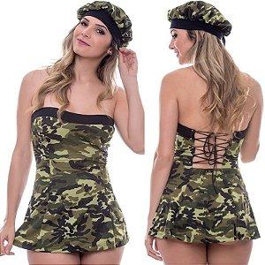 Kit Fantasia Militar Vestido Sensual Love - Sexshop