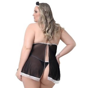 Kit Fantasia Plus Size Empregadinha Pimenta Kente - Sexshop