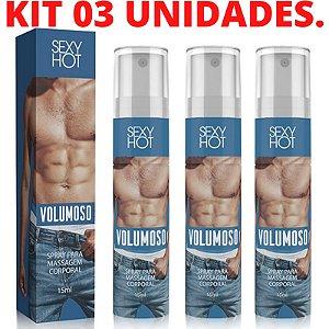 Kit 03 Volumoso Gel para Pênis - Spray Para Massagem Corporal - Sex shop