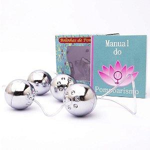 Kit Pompoarismo 04 Bolinhas Cromadas e Manual - Sexshop