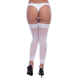 Legging Punho Renda Branca - Sexshop