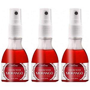 Kit 03 Perfume Morango Odorizador Ambientador 50ml Hot Flowers