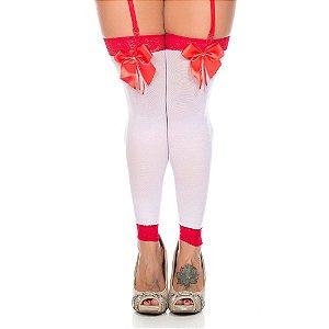 Meia Branco com Vermelho Sexy 7/8 Com Laço Pimenta Sexy - Sex shop