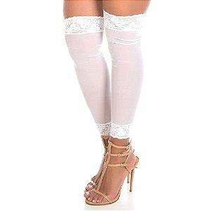 Meia Leg 7/8 com Renda Branco Pimenta Sexy - Meia Sex