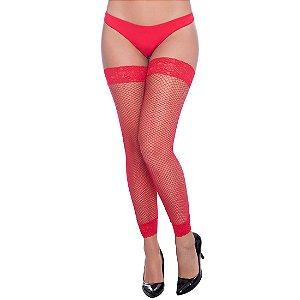 Meia Leg Arrastão PerruTextil Vermelha - Sex shop