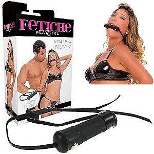 Mordaça Erótica em couro com tiras ajustáveis - Sexshop