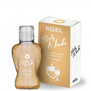 Óleo de Massagem Body Nudes Kgel Hot Morango com Champagne 37ml - Sexshop