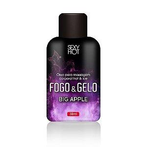 Óleo para massagem beijável FOGO E GELO - Big Apple - Sexshop