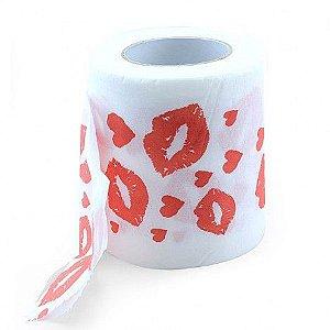 Papel higiênico com marcas de beijos de batom - Sexshop