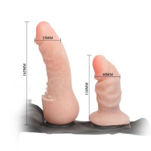 Pênis Cyberskin Penetrix duplo com Cinta FEMALE HARNESS - Sexshop