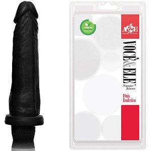 Pênis Prótese 10 com Vibrador Preto - Sex shop