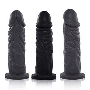 Pênis Real Peter Realístico com Cinta Enrugado Preto - 14x3,8cm - Sex Shop