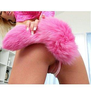 Plug Anal em Alumínio 7cm com Cauda Pink - Sex shop