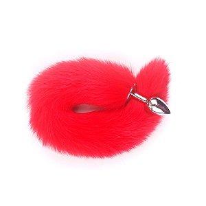 Plug Anal em Alumínio 7cm com Cauda Vermelha - Sex shop