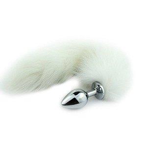 Plug Anal em Metal 7cm com Cauda Branca Raposa do Gelo - Sexshop