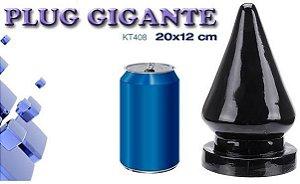 Plug gigante com vibrador preto 20 x 12 cm - Sexshop