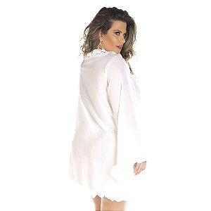 Robe Plus Size FruFru Branco Pimenta Sexy - Hobby Sexy