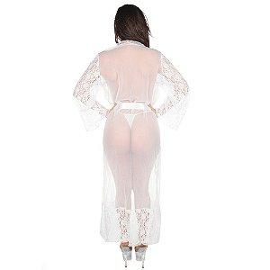 Robe Sensual Longo Pimenta Sexy Branco - Sex Shop