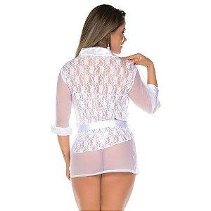 Robe Sensual Luxo Pimenta Sexy Branca - Sexshop