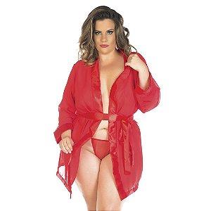 Robe Sensual Plus Size Romântico Preto Pimenta Sexy - Sexshop