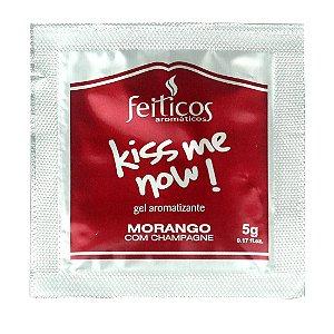 Sachê Gel Comestível HOT Kiss me Now 5gr Morango com Champanhe - Sexshop
