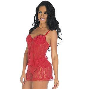 Short Doll Rendado Vermelho Pimenta Sexy - Sexshop