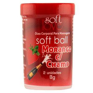 SoftBall Bolinha Beijável Morango com Champanhe 2uni SoftLove - Sex shop