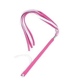 Chicote Fino Com 6 Tiras Feito em Couro Pink Ktoy