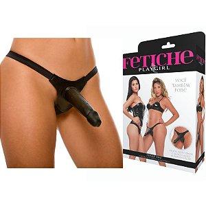 Strap On - cinta com pênis realístico - Preto 14,5x4cm - Sexshop