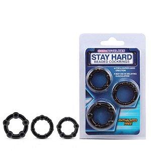 Anéis Penianos Kit com 3 com Nódulos Massageadores - STAY HARD - Sex shop