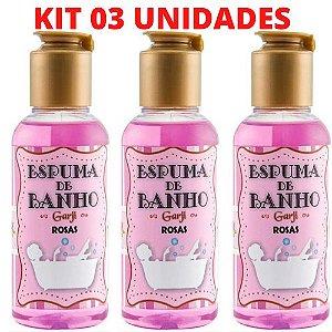 KIT 03 Espuma de Banho Aromática 120 ML Rosas - GARJI