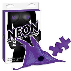Calcinha Com Cápsula Vibratória Roxo - Neon Vibrating