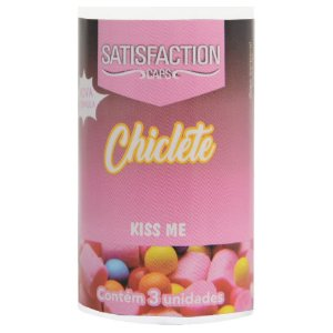 Bolinha Beijável Chiclete Kiss Me 03 Unidades Satisfaction