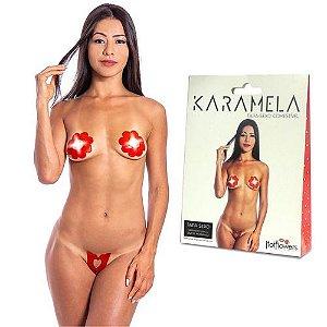 Tapa Sexo Flor Morango Karamela Comestível Hot Flowers – Sex shop