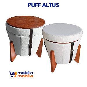 Puff Banqueta Altus - Linho Claro - Correia Preta - 1 Unidade