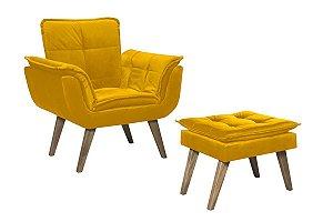 Conjunto Poltrona Opalla + Puff Luxo Tecido Liso - Amarelo