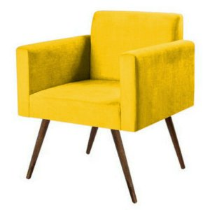 Poltrona Zafira Tecido Liso - Amarelo