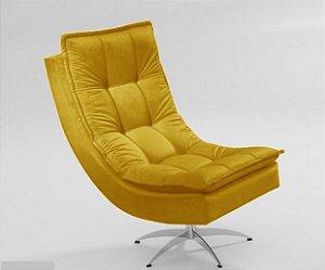 Poltrona Nilla Chaise Tecido Liso - Amarelo